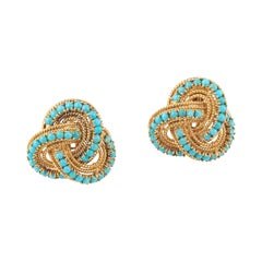 18kt Yellow Gold and Turquoise Knot Earclips