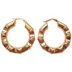 18kt Yellow Gold Bamboo Hoop Earrings, Italian Designer Unoaerre