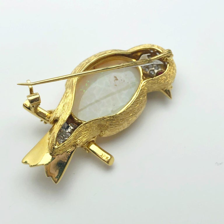 18 Karat Gold Bird on a Branch Brooch with 11.26ct. Opal and .50 Carat Diamonds In New Condition For Sale In New York, NY