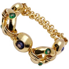 18Kt Yellow Gold Bracelet with 3.15ct of Emerald & Sapphires, .10ct of Diamonds