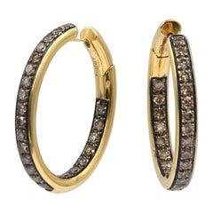 18 Karat Yellow Gold Brown Diamonds Stilish Oval Hoops Shape Garavelli Earrings