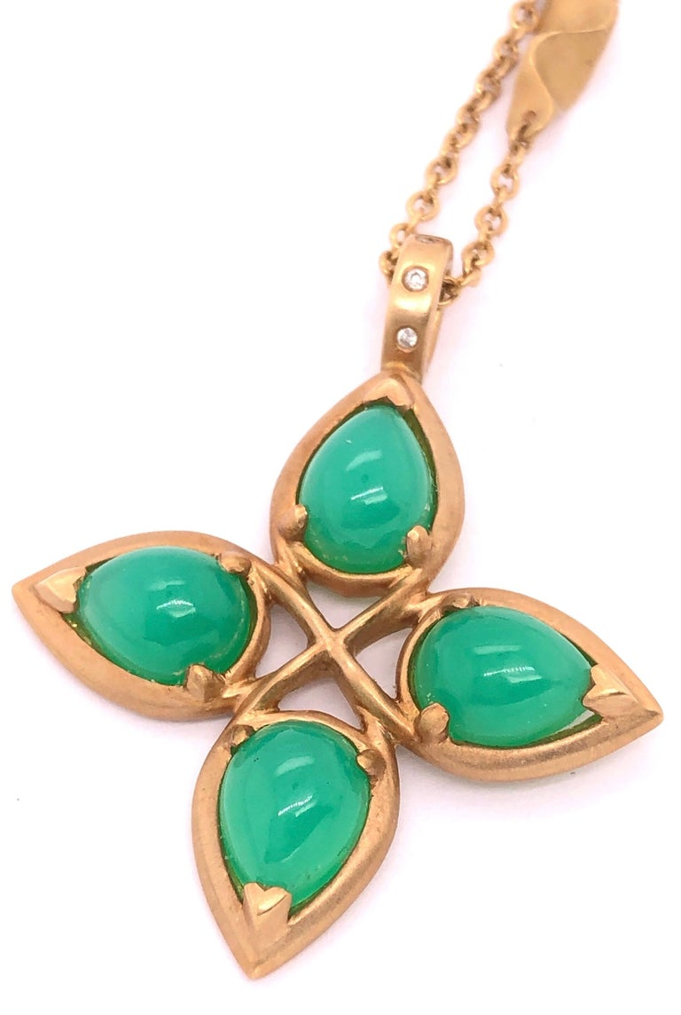 18 Karat Yellow Gold Caleo Chrysoprase Pendant Necklace For Sale 6