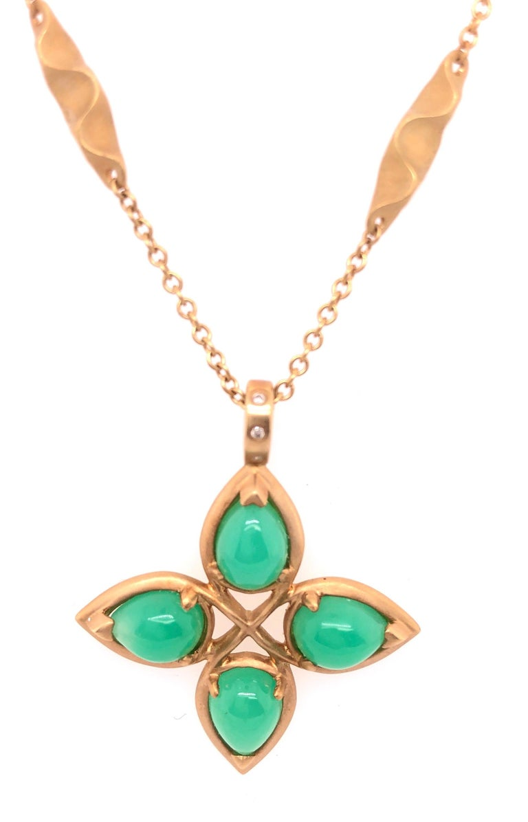 18Kt Yellow Gold Caleo Chrysoprase Pendant Necklace. Handmade Brooklyn NY.  Prov. A Greenwich Ct Lady Betteridge Jewelers Greenwich Ct.