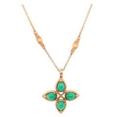 18 Karat Yellow Gold Caleo Chrysoprase Pendant Necklace