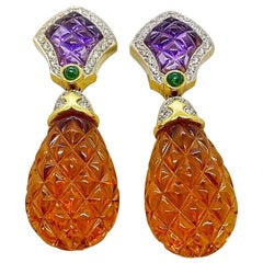 18kt Yellow Gold Carved Citrine and Amethyst, 0.79ct Diamond Pineapple Earrings