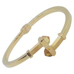 18kt Yellow Gold Citrine Hinged Bracelet, Italian Made, Designer OTC