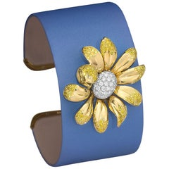 18Kt Gold Daisy Cuff Bracelet with 1.63 Carat Yellow & 1.17 Carat White Diamonds