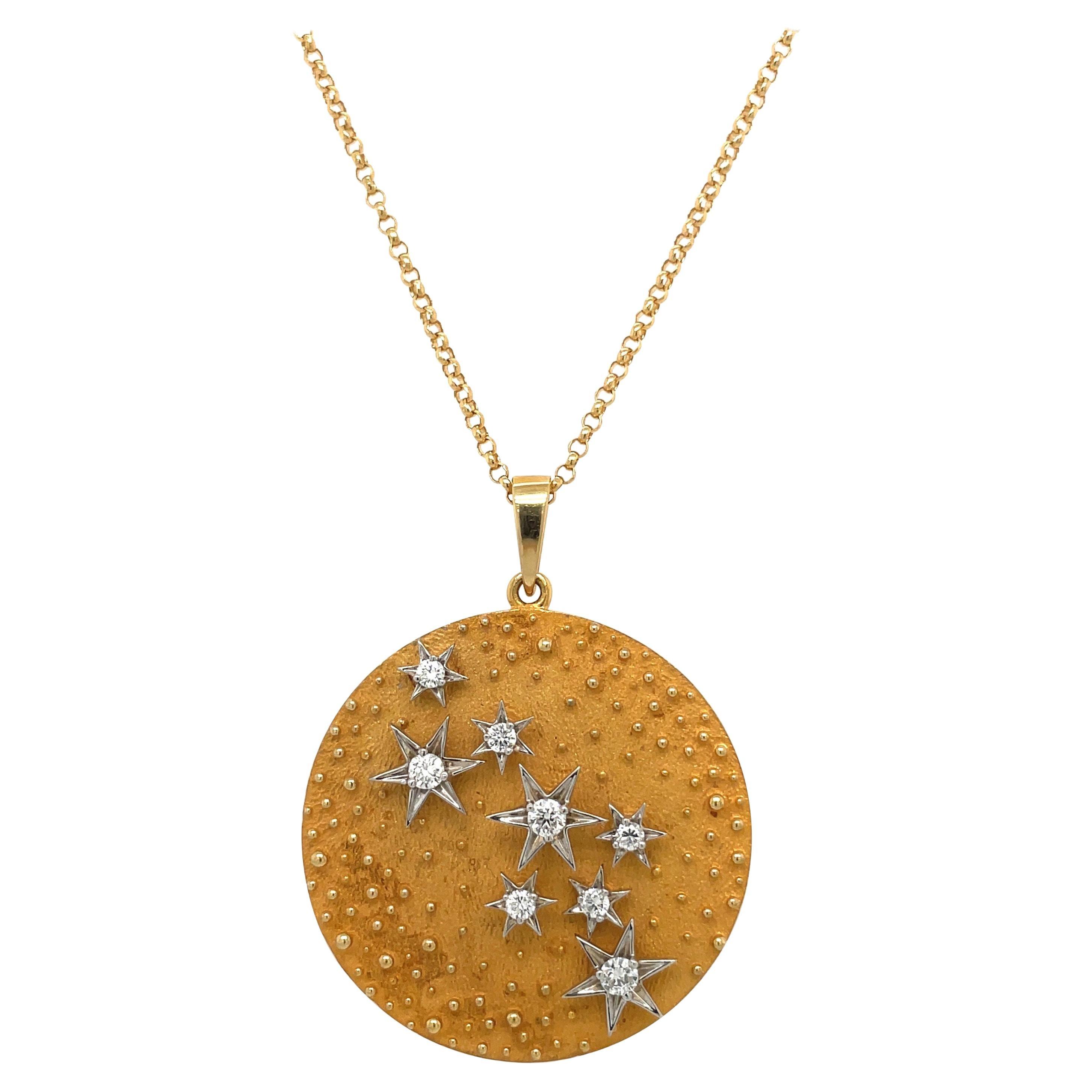 18kt Yellow Gold Diamond .36ct. Lucky Star Pendant