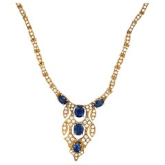 18kt Yellow Gold Diamond 4.24ct & Blue Sapphire 5.54c. Classic Necklace