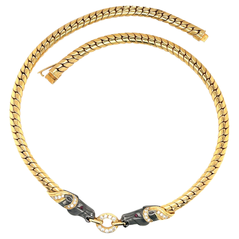 18kt Yellow Gold & Diamond .56ct Horse Head Choker Necklace