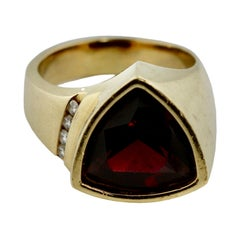 18 Karat Yellow Gold, Diamond and Garnet Ring