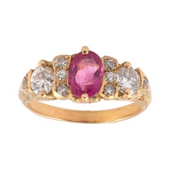 18kt Yellow Gold Diamond and Pink Sapphire Band Ring