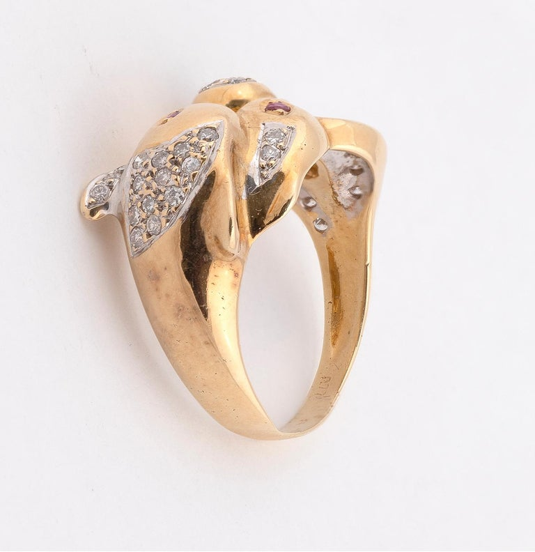 Retro 18 Karat Yellow Gold Diamond and Ruby Dolphin Ring For Sale