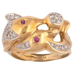 18 Karat Yellow Gold Diamond and Ruby Dolphin Ring