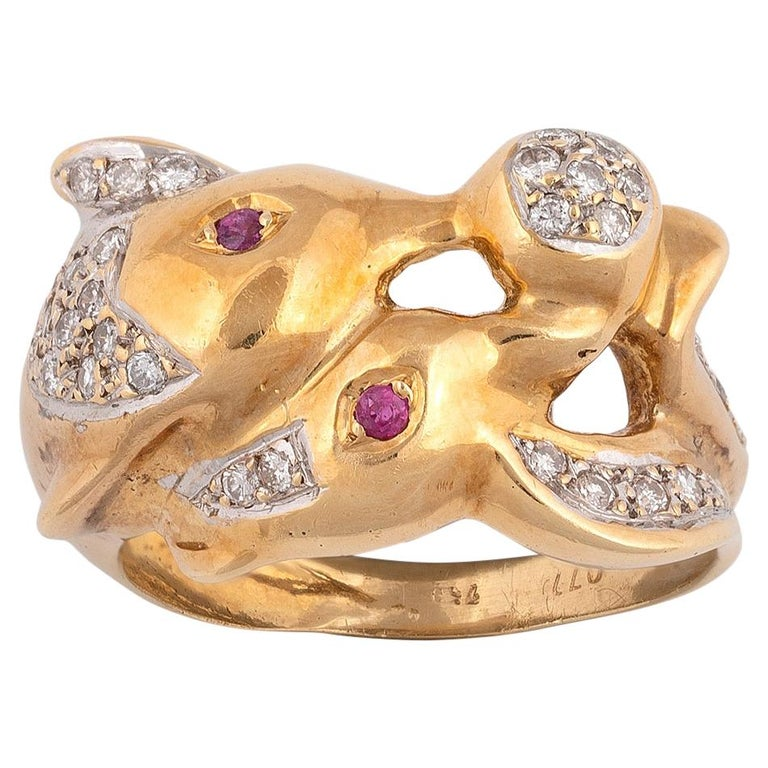 18 Karat Yellow Gold Diamond and Ruby Dolphin Ring For Sale