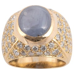 18 Karat Yellow Gold Diamond and Star Sapphire Ring