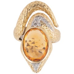 18 Karat Yellow Gold Diamond and Topaz Snake Ring
