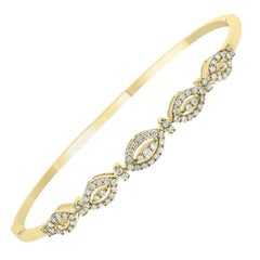 18kt Yellow Gold Diamond Bangle with .73 Carat of Round Brilliant Cut Diamonds