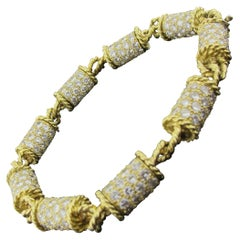 "16 carat Diamond ""Barrel"" Style Bracelet set in 18 karat yellow gold"