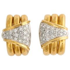 18 Karat Yellow Gold and Diamond Clip-On Earrings