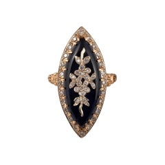 18kt Yellow Gold Diamond French Marquise Ring