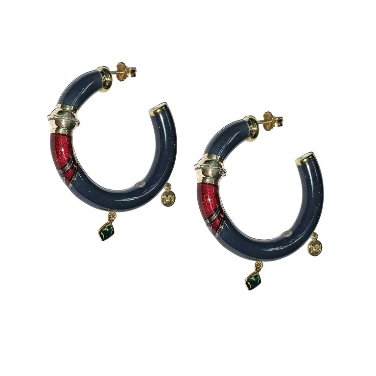Art Deco 18 Karat Yellow Gold Earrings Blu Enameled and Red For Sale