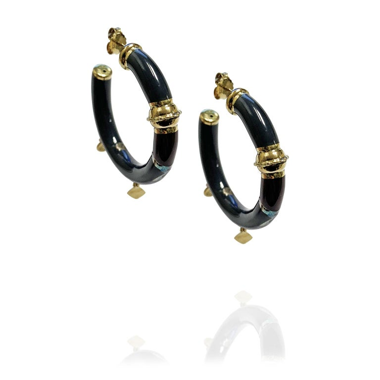 18 Karat Yellow Gold Earrings Blu Enameled and Red In New Condition For Sale In Milan, IT
