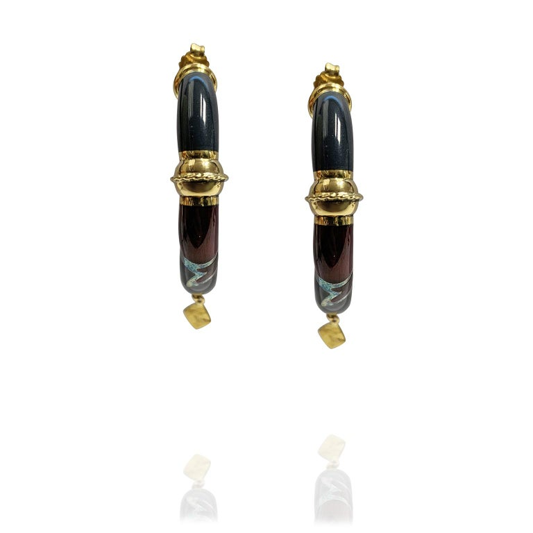 Women's or Men's 18 Karat Yellow Gold Earrings Blu Enameled and Red For Sale