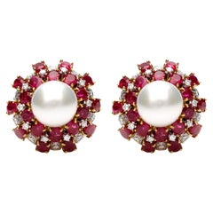 18 Karat Yellow Gold Earrings with Oval Cut Rubies, Diamonds and Pearls