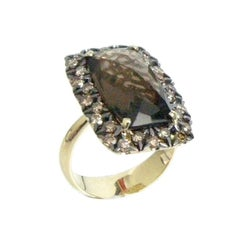 18 Karat Yellow Gold Garavelli Ring with Smokey Quartz and Brown Diamonds