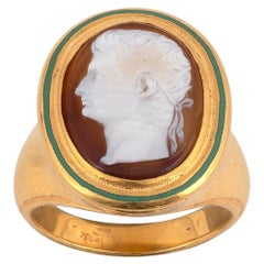 18 Karat Yellow Gold Green Enamel and Hardstone Cameo Ring