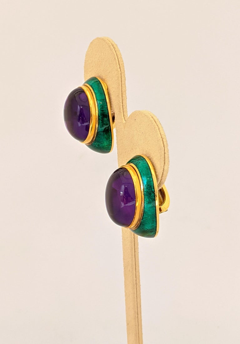 Modern 18 Karat Yellow Gold, Green Enamel Earrings with 34.46 Carat Cabochon Amethyst For Sale