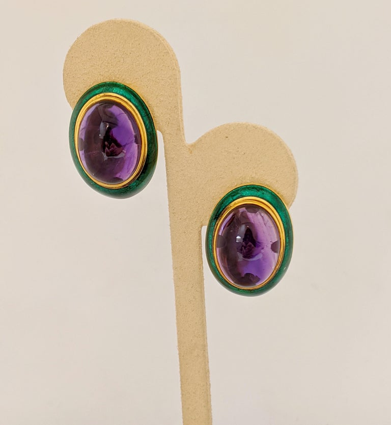 Oval Cut 18 Karat Yellow Gold, Green Enamel Earrings with 34.46 Carat Cabochon Amethyst For Sale