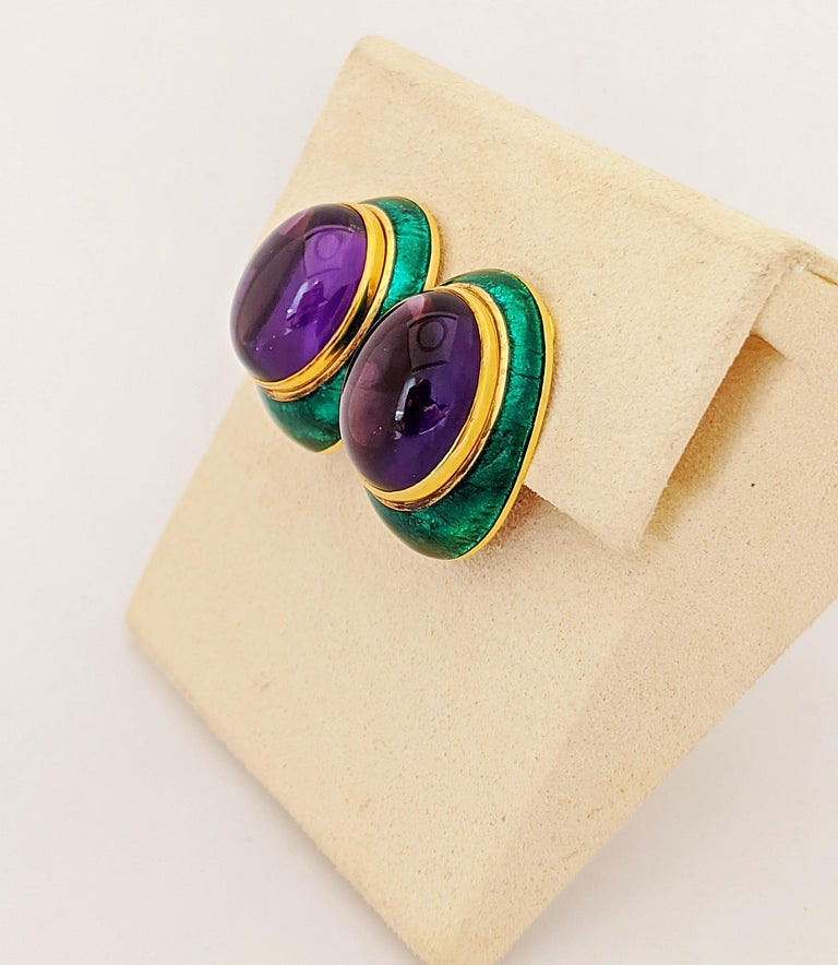 18 Karat Yellow Gold, Green Enamel Earrings with 34.46 Carat Cabochon Amethyst In New Condition For Sale In New York, NY