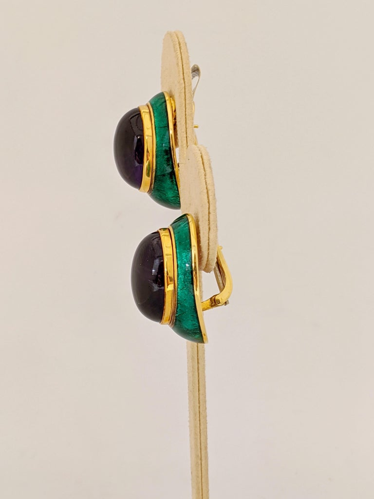 Women's or Men's 18 Karat Yellow Gold, Green Enamel Earrings with 34.46 Carat Cabochon Amethyst For Sale