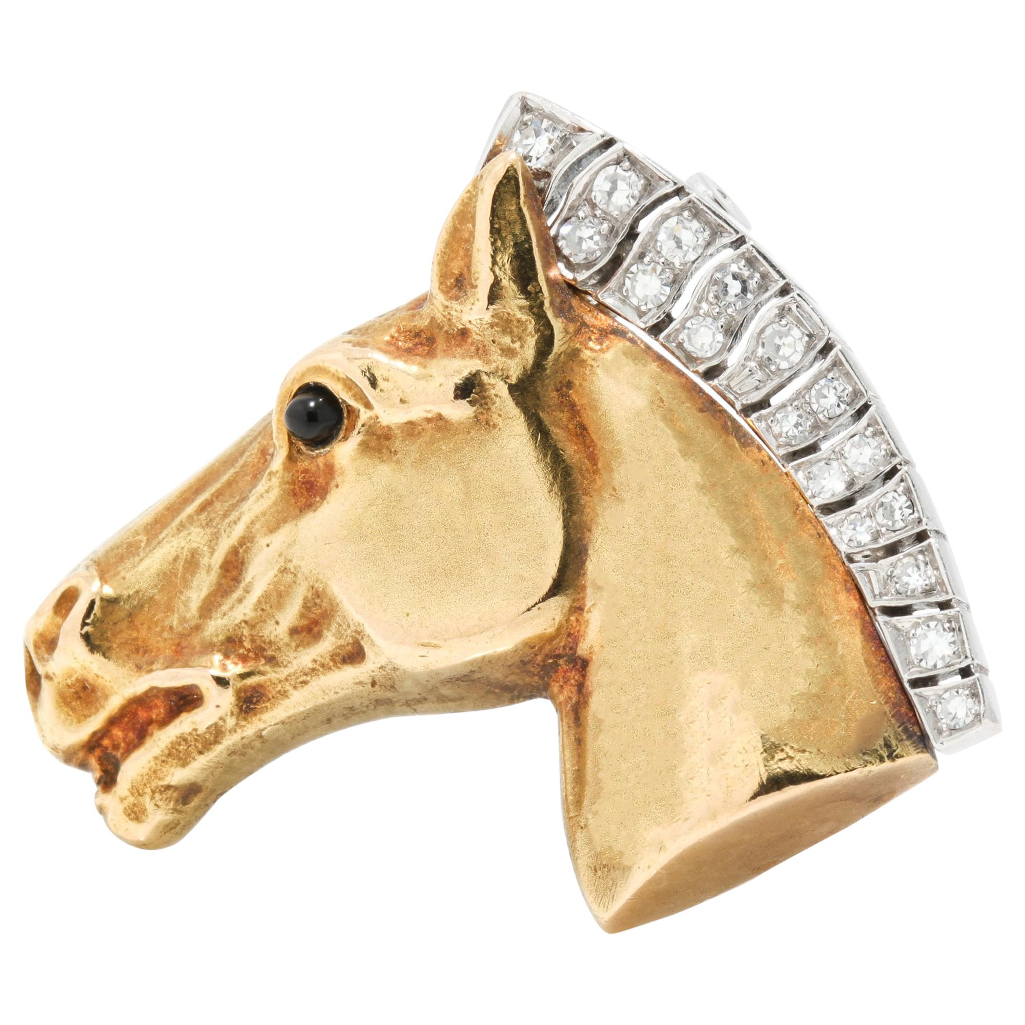 18kt Yellow Gold Horsehead Brooch, 1950's