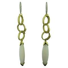 18 Karat Yellow Gold Jadeite and Diamond Drop Earrings