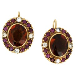 18kt Yellow Gold Ladies Clip-On Earrings with Garnets, Diamonds and Rubies, 1970