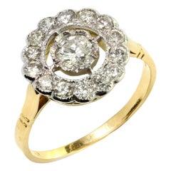 18kt Yellow Gold Ladies Cluster Diamond Ring