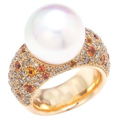 18kt. Yellow Gold Ladies Dome Ring with South Sea Pearl by Schoeffel