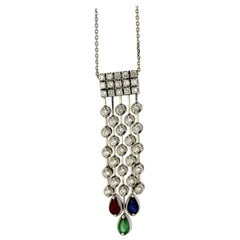 18 Karat Gold Ladies Necklace with Diamond, Ruby, Emerald and Sapphire Pendant