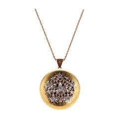 18Kt Yellow Gold and Diamond Leonardo Da Vinci Cut Diamond Pendant Necklace