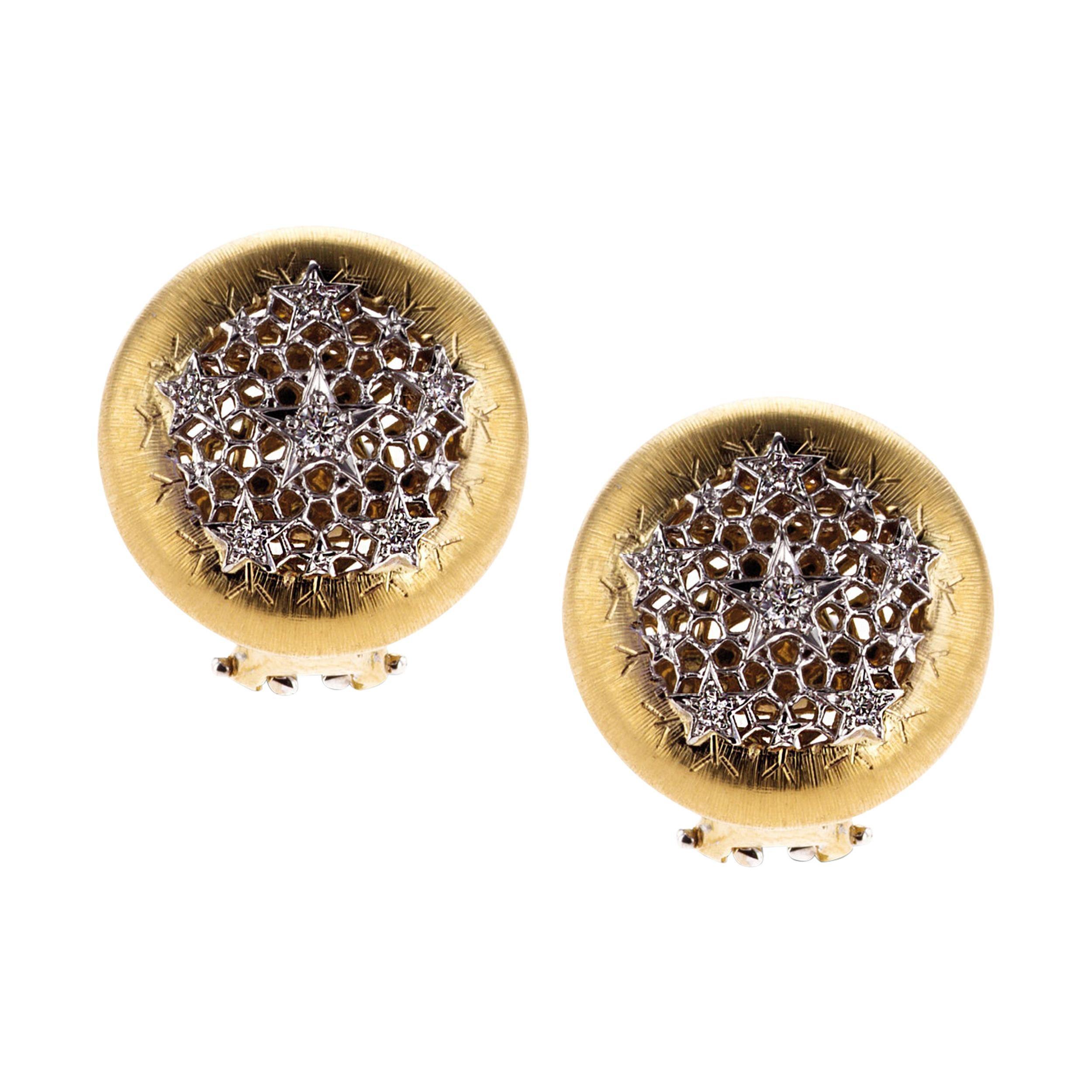 18Kt Yellow Gold and Diamond Ginevra Stud Earrings