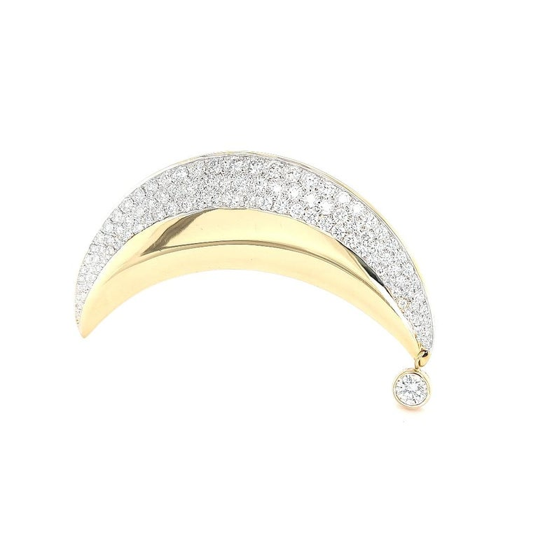 18kt Yellow Gold Luna Moon Brooch & Pendant with Top Quality Brilliant Diamonds For Sale 4