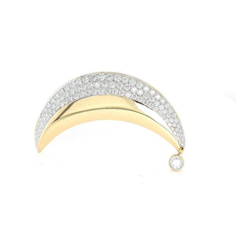 18kt Yellow Gold Luna Moon Brooch & Pendant with Top Quality Brilliant Diamonds For Sale 6