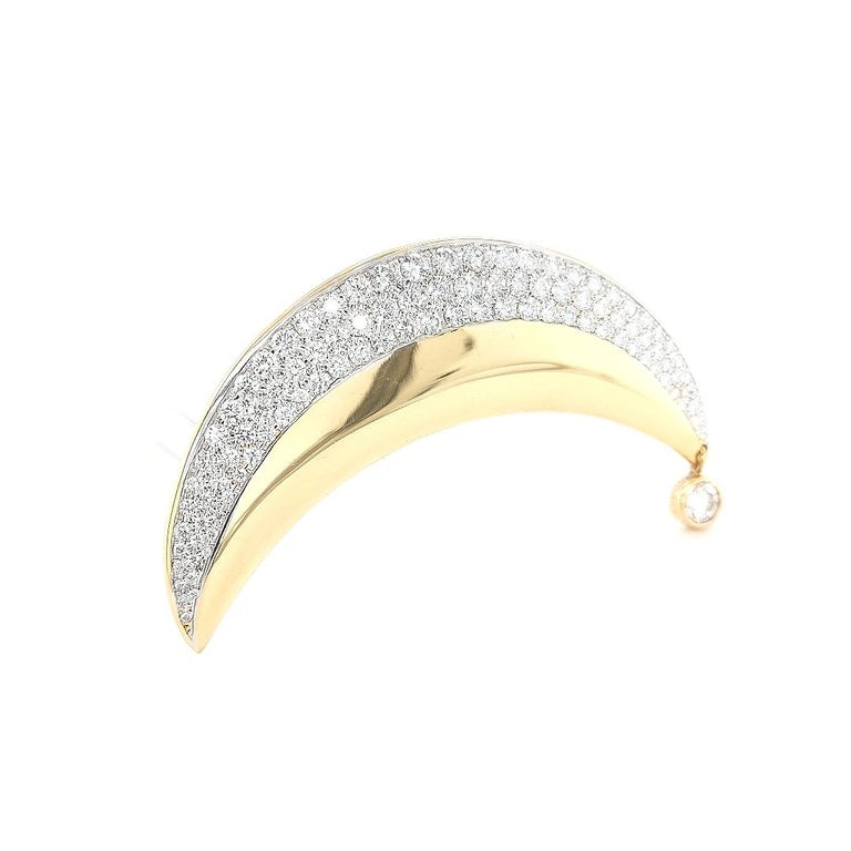 18kt Yellow Gold Luna Moon Brooch & Pendant with Top Quality Brilliant Diamonds For Sale 8