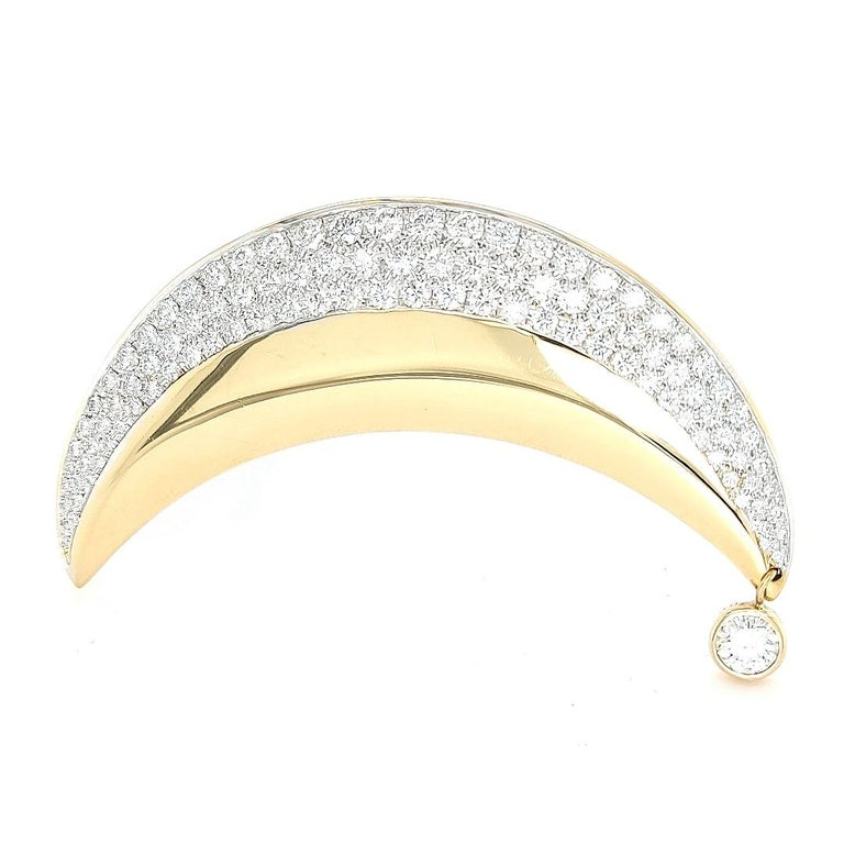 Artist 18kt Yellow Gold Luna Moon Brooch & Pendant with Top Quality Brilliant Diamonds For Sale