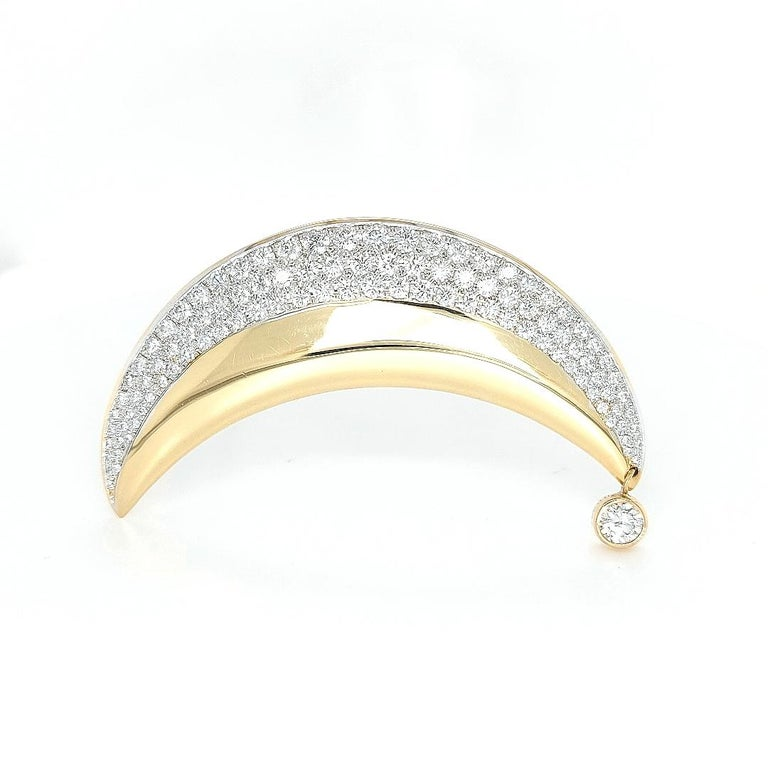 Brilliant Cut 18kt Yellow Gold Luna Moon Brooch & Pendant with Top Quality Brilliant Diamonds For Sale