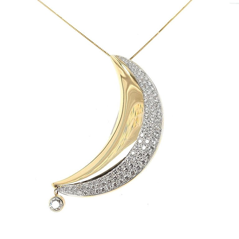 18kt Yellow Gold Luna Moon Brooch & Pendant with Top Quality Brilliant Diamonds For Sale 1