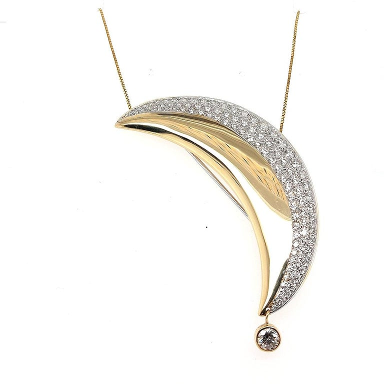 18kt Yellow Gold Luna Moon Brooch & Pendant with Top Quality Brilliant Diamonds For Sale 2